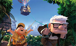 Made for each other: Russell and Carl fly away on the adventure of a lifetime in Up.