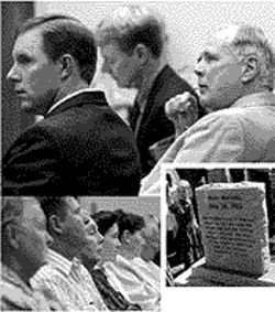 Top: Holm with his attorneys. Bottom left: Fundamentalist Mormons look on during the trial. Bottom right: The monument that Prophet Jeffs ordered destroyed, before it disappeared.
