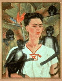 Autorretrato con monos (Self Portrait with  Monkeys) by Frida Kahlo, 1943.  The Jacques and  Natasha Gelman Collection; copyright Banco de  Mexico Diego Rivera & Frida Kahlo Museums Trust,  Av. Cinco de Mayo No 2, Co. Centro, Del. Cuahtemoc,  06059, Mexico, DF.  Reproduccion autorizada por el  Instituto Nacional de Bellas Artes y Literatura.