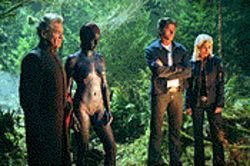 X games: Ian McKellen, Rebecca Romijn-Stamos, Hugh Jackman and Halle Berry in X2: X-Men United.