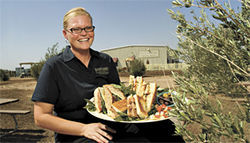 Olive you, too: Chef Alicia Popple harvests a platter of panini.