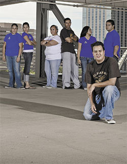 The members of El Break: From left, Gabby Arias, Laura Suarez, Diali Avila, Obed Hurtado, Sayra Sandoval, Tony Arias, and their leader, Luis Avila.