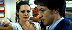 Look that kills: Angelina Jolie teaches James McAvoy the ways of the assassin in Wanted.