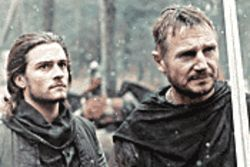 Battle worthy: Orlando Bloom receives instruction from Liam Neeson before going off to war in Kingdom of Heaven.