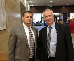 Criminal defense attorney David Cutrer (left) and immigration attorney Lance Wells, taking on the MCAO&#039;s cruel, unconstitutional policies toward undocumented defendants.