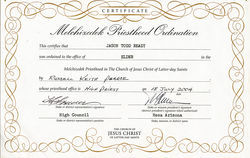 J.T. Ready's certificate, ordaining him an LDS elder. Details of this document were corroborated by members of the Mormon Church.