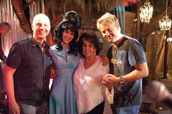(From left) Christopher Pomerenke, Caplan, rockabilly legend Wanda Jackson, and Ryan Page