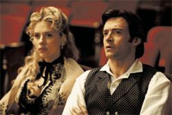 Magic man: Hugh Jackman (right) is an illusionist, and Scarlett Johansson his assistant/lover, in The Prestige.