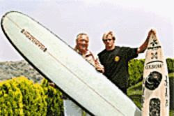 Surf's up: Greg Noll and Laird Hamilton do the wave in Riding Giants.