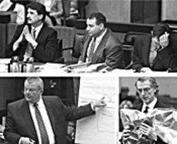 Top: From left, prosecutors Anthony Novitsky, Mitch Rand and Dave Dehority. Above: Defense attorneys Tom Henze (left) and Patrick McGroder, holding the dead man's shoes.