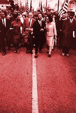 Dr. Martin Luther King Jr. leads marchers into Montgomery.