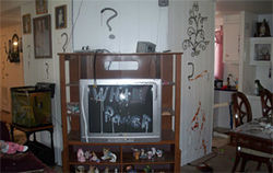 """White power"" written on his TV."
