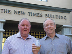 Jim Larkin and Michael Lacey toasted the First Amendment after forcing Thomas' mea culpa.