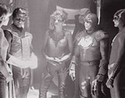 A scene from the never-aired--thank God--Justice League of America pilot made for CBS-TV in 1997
