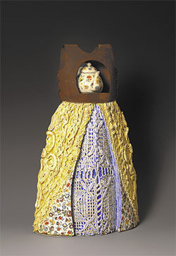 "Earl Grey Gown, Kathleen Holmes, 2006, ceramic, steel, crochet, oil color, 18"" x 12"" x 6"""