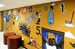 A mural on the wall of LDRC&#039;s Arid Club, illustrating the 12 steps to sobriety.