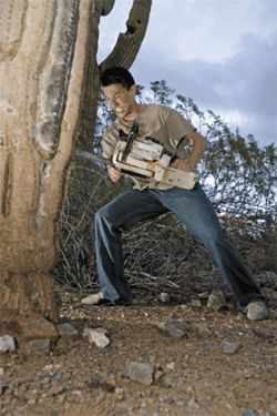 "Yamamoto chain-sawing an ancient saguaro: ""There are so many saguaro,"" says the chef. ""Go look in desert. You cannot count them, there are so many."""