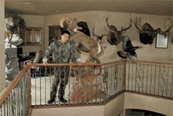 The most dangerous game: Yamamoto in his Anthem study, surrounded by trophies of hunts past.