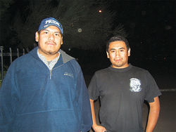 Jonathan Coronado (left) with Guadalupe activist Andrew Sanchez