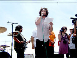 Zack de la Rocha at the rally in front of Tent City