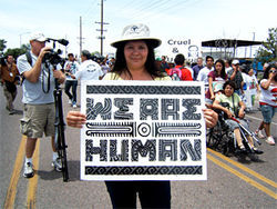 Former Guadalupe Mayor Rebecca Jimenez in the Walk for Respect