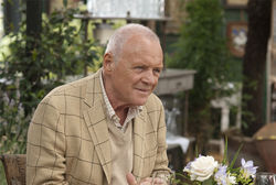 "Still needing ""the eggs"": Anthony Hopkins attempts to beat the mortality odds in Woody Allen's You Will Meet a Tall Dark Stranger."